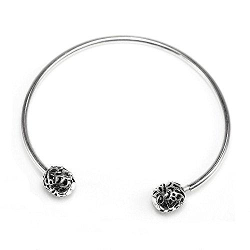 Dreambell 925 Sterling Silver European Style Flex Bangle Bracelet 6.5