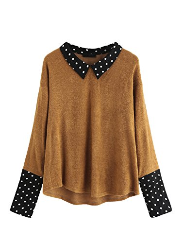 (Romwe Women's Loose Contrast Polka Dot Collar Long Sleeve Blouse Knit Tops Brown)