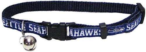 (NFL CAT COLLAR. - SEATTLE SEAHAWKS CAT COLLAR. - Strong & Adjustable FOOTBALL Cat Collars with Metal Jingle Bell)