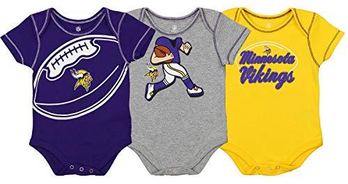 Outerstuff NFL Boys Newborn and Infant Assorted Team 3 Pack Creeper Set, Minnesota Vikings 3-6 Months