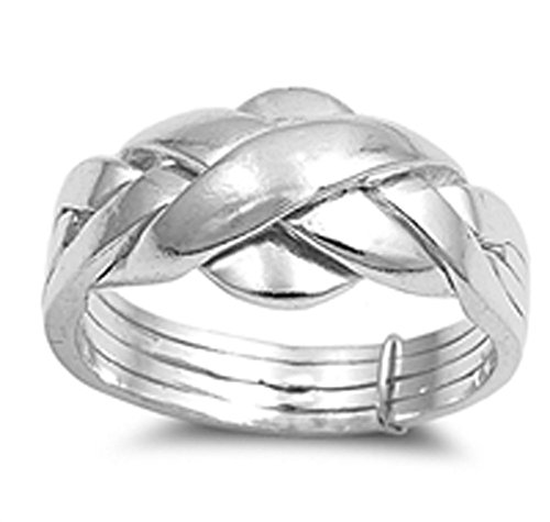 11mm Band Sterling Silver Ring (Sterling Silver Women's Puzzle Braid New Ring Polished 925 Band 11mm Size 10)