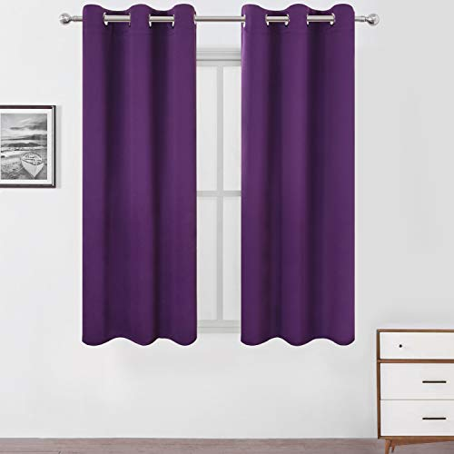 (LEMOMO Purple Blackout Curtains/42 x 63 Inch/Set of Two Panels Grommet Bedroom Curtains)