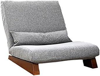 ソファー 怠惰なソファー、シングルソファー、レジャーソリッドウッドの寝室の床のソファー、(折り畳むことができる、あなたは分解してきれいにすることができます) A+ (Color : Gray)