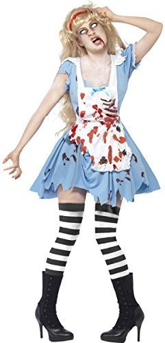Ladies Zombie Alice in Wonderland Halloween Twisted Fairy Tale Malice Fancy Dress Costume Outfit 8-18 (UK 4-6) -