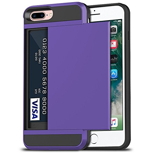 iPhone 7 Plus Case, iPhone 8 Plus Case, Anuck Shockproof iPhone 7/8 Plus Wallet Case [Card Pocket][Slide Cover] Anti-Scratch Protective Shell Armor Rubber Bumper Case with Card Slot Holder - Lavender