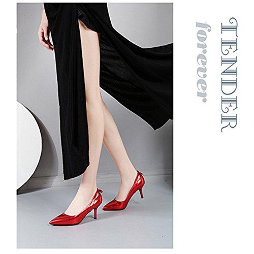 Bowknot BERTERI Red Toe Pointed Pumps Heel Shoes Woman's Dress BwHTA