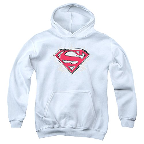 Trevco Superman Hastily Drawn Shield Unisex Youth Pull-Over Hoodie for Boys and Girls, X-Large White ()