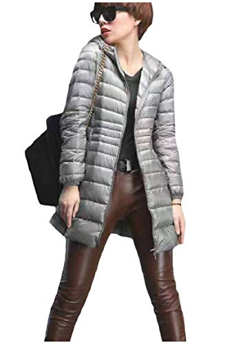 Donne Basso size Cappuccio Zip Outwear Il Full Mogogo Peso Cappotto Plus Verso Leggero Grigio Ultra Con Delle Packable BIWZ5