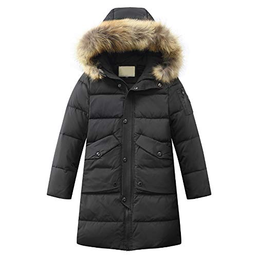 SITENG Boys' Kids Winter Hooded Down Coat Solid Puffer Jacket Fur Collar Parka Outwear for Big Boys