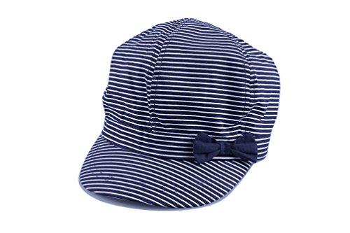 Bienzoe Girl's Cotton Striped Bowtie Peaked Sun Hat 2/3 -