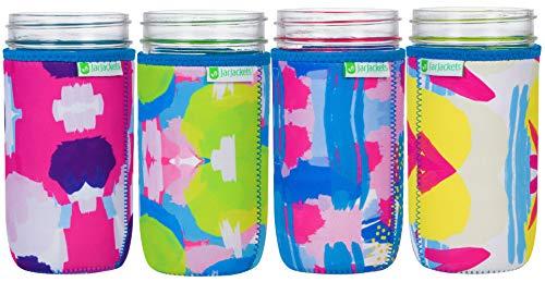 JarJackets Neoprene Mason Jar Protector Sleeve - Fits 24oz (1.5 pint) Jars (4, Multicolor) ()