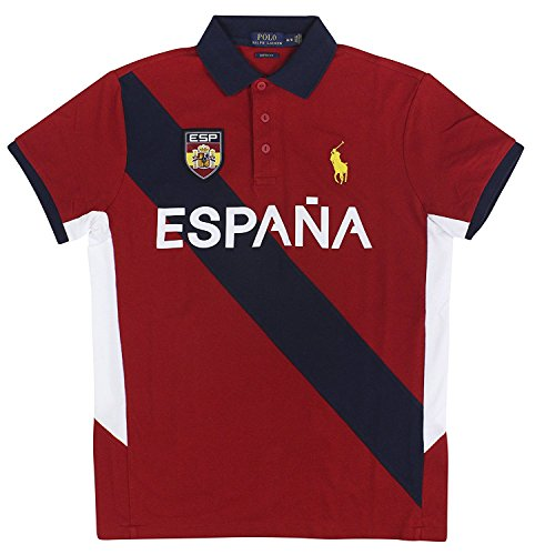 Polo Ralph Lauren Men's Custom Fit Country Jersey Polo Shirt (X-Large, Spain) (Lauren Jersey Ralph Ribbed)