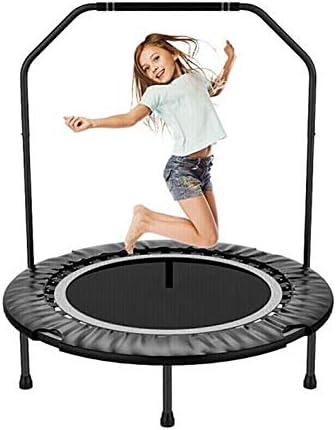 QZ ハンドル付き 折る 屋内 トランポリン 最大 ユーザー 重量 120キロ 黒 大人のフィットネス機器 家庭用 子供のトレーニングジャンプベッド (Color : Black)