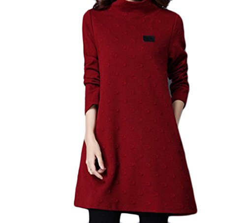 Dress Pullover Oversized Coolred High Solid Pattern1 A Women Quilted Line Neck 8WzzqCwZXx