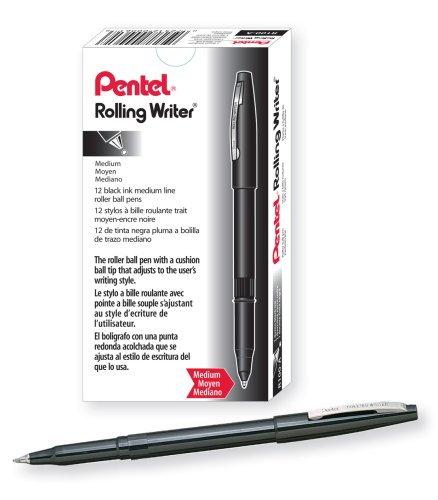 (Pentel Rolling Writer Pen, 0.8 Millimeter Cushion Ball Tip, Black Ink,  12 pens (R100-A))