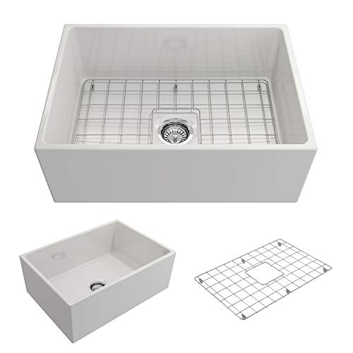 Contempo Farmhouse Apron Front Fireclay 27 in. Single Bowl Kitchen Sink with Protective Bottom Grid and Strainer in White