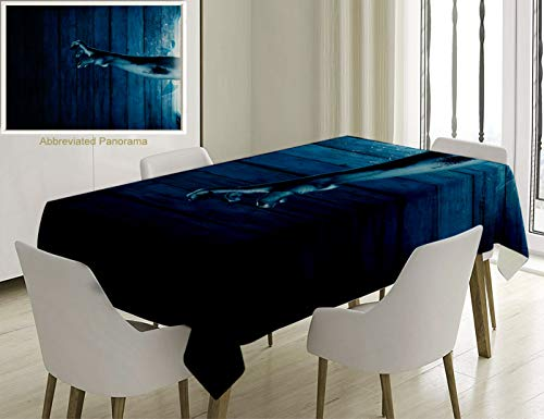 - Unique Custom Cotton And Linen Blend Tablecloth Horror House Decor Zombie Hand Come Out From Television Undead Being Devil Fantasy Themed Artwork BlueTablecovers For Rectangle Tables, 86 x 55 Inches