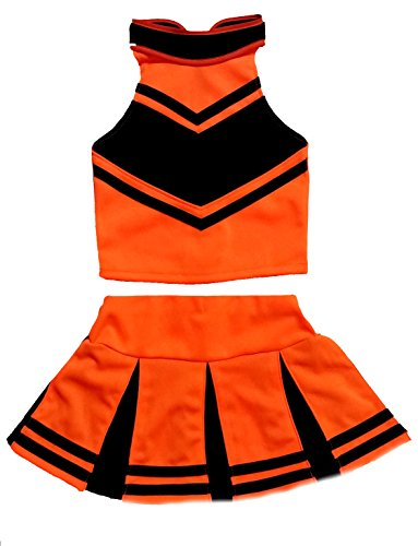 Little Girls' Cheerleader Cheerleading Outfit Uniform Costume Cosplay Halloween Orange/Black (XL / 10-12) ()