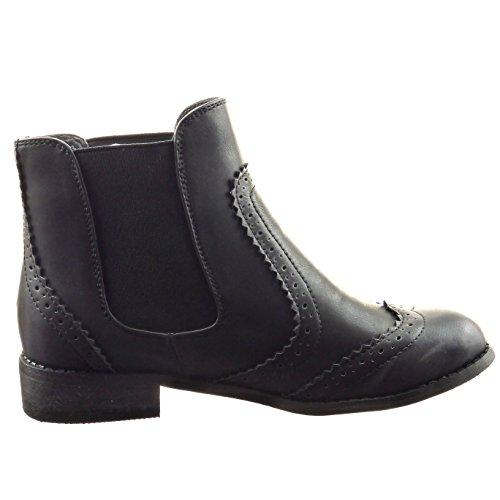 Sopily - Zapatillas de Moda Botines chelsea boots A medio muslo mujer perforado Talón Tacón ancho 3 CM - Negro