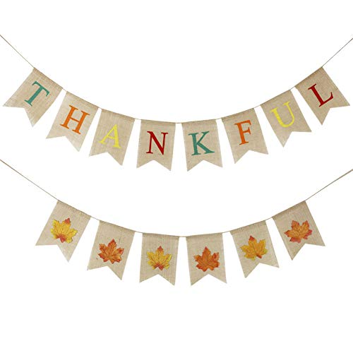 Thankful Burlap Banner with Leaves Garland(Assembled) Thanksgiving Day Decoration for Fireplace Office Indoor Thanksgiving Day Party Supplies