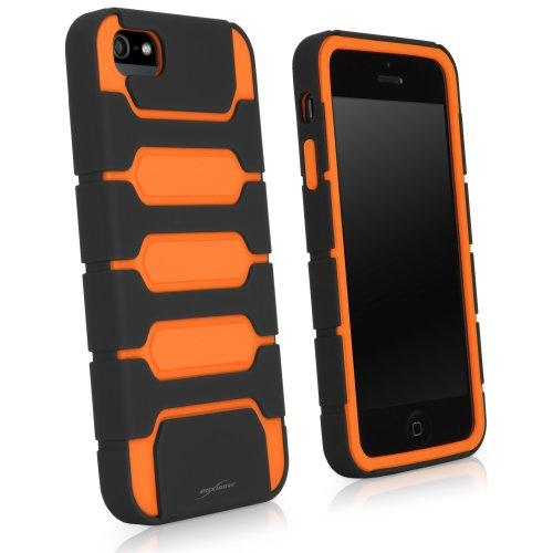 Fortex BoxWave Étui pour Apple iPhone 5 Ultra fin, ajusté bicolore en TPU Double couche de Protection futuriste, découpe-Apple-iPhone 5–Couvertures cas Bold (Orange)