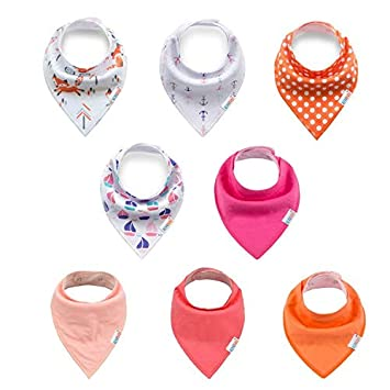 ALVABABY Baby Bandana Bibs for Girls 8pcs Pack Super Absorbent Baby Gift Settings 8SD18-CA
