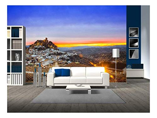 (wall26 - View Over Montefrio in Granada, Spain Towards The Moorish Castle on The Hill. - Removable Wall Mural | Self-Adhesive Large Wallpaper - 66x96)