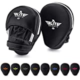 Elite Sports Item Essential Curved Boxing, MMA, Kickboxing, Muay Thai, Sparring Punching Mitts, White