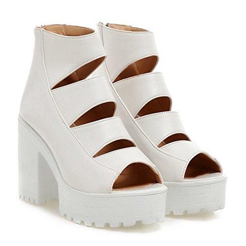 Zapatos Mujer Tacon White Chunky Sandalias RAZAMAZA xASaIq