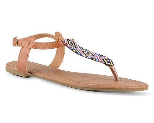 Aztec Sandal - Twisted Women's Daisy Beaded Aztec T-Strap Flat Sandal - DAISY732 Cognac, Size 7.5