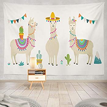 KJONG Cute Cartoon Character and Cactus Nursery Greeting Birthday Baby Shower and Party Cute Cartoon Baby Invitation Decorative Tapestry,60X80 Inches Wall Hanging Tapestry for Bedroom Living Room