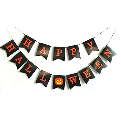 Tellpet Black HAPPY HALLOWEEN Banner Bunting with Pumpkin Sign, Halloween Theme Party Decorations -
