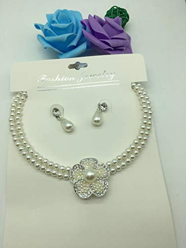 3pcs multi-layer european american fashion plum blossom diamond knotted pearl necklace pendant