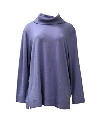 BASLER Womens Cowl Neck Wool Silk Basic Sweater Multi 260972E (50, Blue)