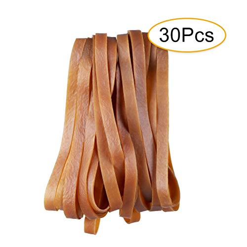 Cooyeah 30pcs Large Thick Heavy Duty Natural Rubber Bands Durable Brown Elastic Cord General Purpose for Files Garbage can and Moving 7.9×0.4 Inches (20×1cm)