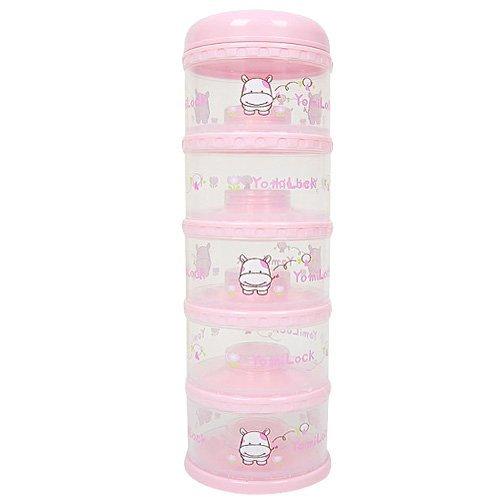 Yomilock 5-Layer Antibiotic Milk Powder Container / Dispenser, Pink - Made In Korea by Yomilock