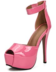MAIERNISI JESSI Womens Platform Peep Toe Stiletto High Heel Ankle Strap Dress Sandals