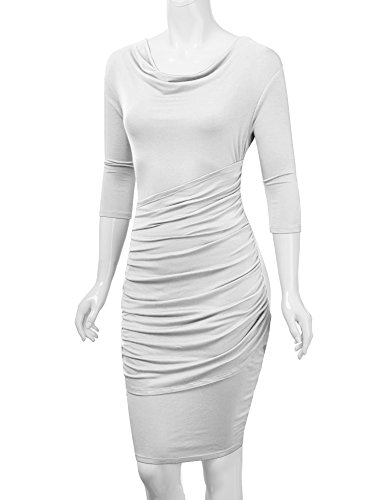 CTC WDR1185 Womens Cowl Neck 3/4 Sleeve Pleated Detail Dress M WHITE