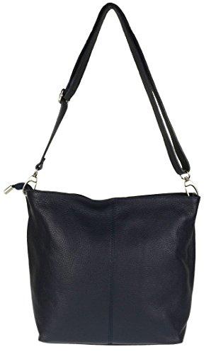 Blue Girly Bag Shoulder Soft Dark Leather Genuine HandBags vnPxv0