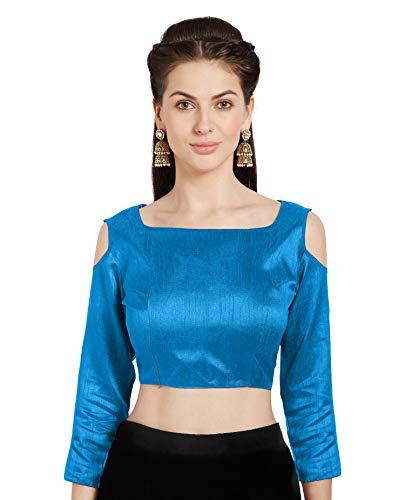 Blue Sari Turquoise (Women Turquoise Readymade Sari Blouse Choli Cold Shoulder Mirchi Fashion)