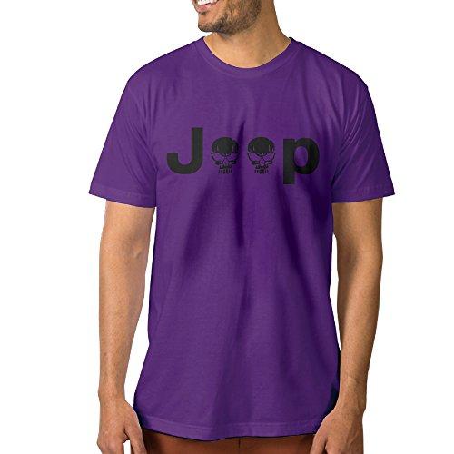 PTCYM Jeep Logo With Creative Skull Symbol Custom Men's Tshirts M Purple ()