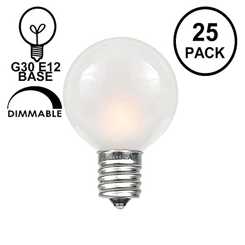 Novelty Lights 25 Pack G30 Outdoor Globe Replacement Bulbs, Frosted White, C7/E12 Candelabra Base, 5 Watt ()