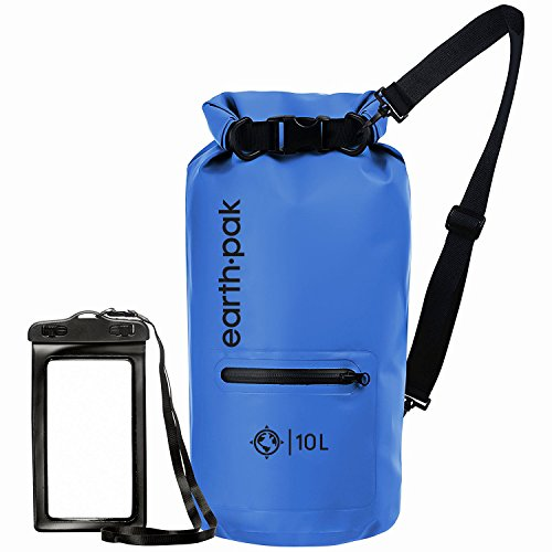 Earth Pak- Waterproof Dry Bag with Front Zippered Pocket Keeps Gear Dry for Kayaking, Beach, Rafting, Boating, Hiking, Camping and Fishing with Waterproof Phone Case from Earth Pak