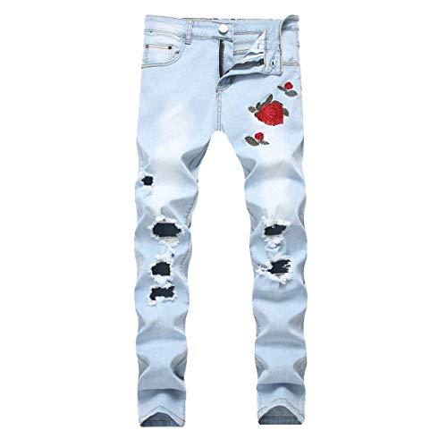 A 88 Stampa Elasticizzati Blu Especial Vita Stretch Media Skinny Bobo Floreali Casual Elasticizzato Uomo Ssige Pantaloni Con Jeans Estilo Da Strappata wOBdxUqX