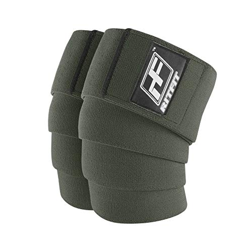 RitFit Knee Wraps (Pair) - Ideal for Squats, Powerlifting, Weightlifting, Cross Training WODs - Compression & Elastic Support - for Men & Women - Bonus Carry Case (Green Pro)