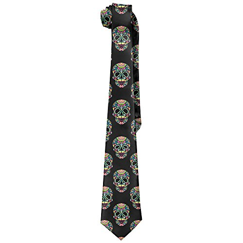 DNUPUP Color Sugar Skull Halloween Polyester Silk Faldable Gentleman Tie Necktie Gift (Li Halloween Events)