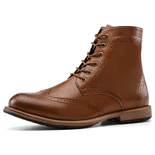 Men's Oxford Boots Wingtip Dress Boots Brogue Lace-Up Zip for Work Hike Motorcycle Brown 10 ()