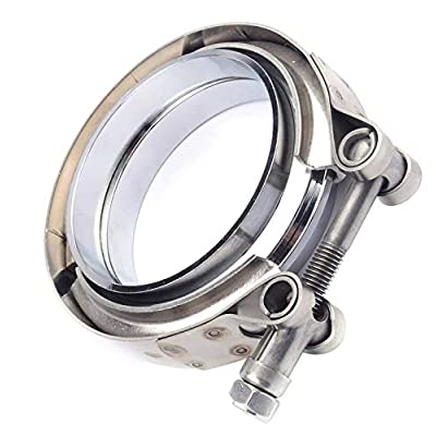 EVIL ENERGY 3 Inch Stainless Steel Exhaust V Band Clamp Mild Steel Flat Flange Assembly: Automotive