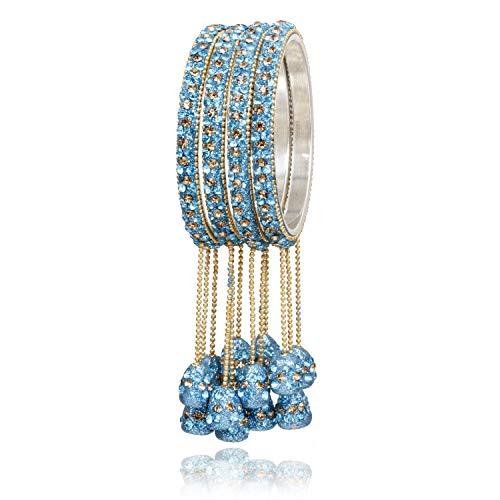 Ratna Designer Indian Bollywood Lac Bangles Bracelets Wedding Latken Bangle Set Pair Jewelry Churi Set (Sky Blue, 2.4)