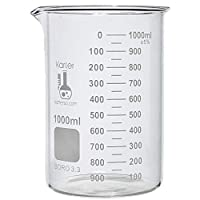 1000ml Beaker, Low Form Griffin, Boro. 3.3 Glass, Double Scale, Graduated, Karter Scientific 213D27 (Single)